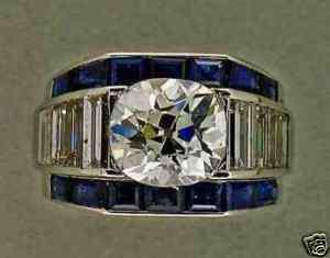 ART DECO 2.45CT OLD MINE BRILLIANT DIAMOND EMERALD CUT SAPPHIRE RING