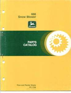 John Deere 666 Snow Blower Parts Catalog