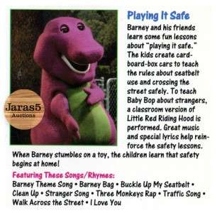 Barney & Friends Playing It Safe VHS   1992   Kids Safety Lessons