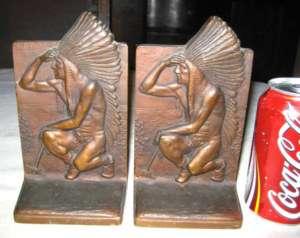LG ANTIQUE BRONZE ART SCULPTURE STATUE INDIAN EAGLE FEATHER TOMAHAWK
