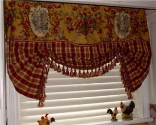 French Country VALANCE Balloon Shade Curtain Red Gold Waverly Toile
