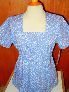 Swan medical nursing uniform short sleeve print scrub top new