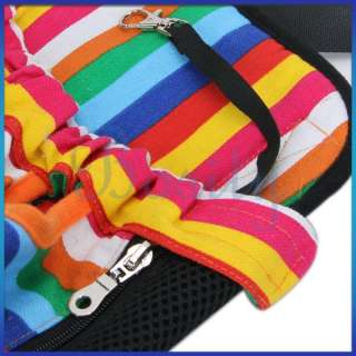 Pink Black Color Stripes Pet Dog Front Carrier Backpack Travel Bag