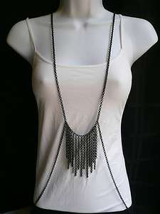 BODY CHAIN WOMEN NECKLACE BLACK METAL BODY LONG CHAINS JEWELRY CASUAL