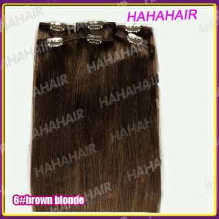 18inch 6pcs Remy Clip in Human Hair Extension 6 light brown 35g