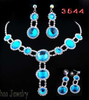 Acryl Beads Rhinestone Crystal Bridal Necklace Earring 1set