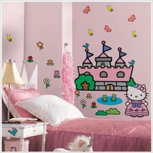 New HELLO KITTY PRINCESS CASTLE WALL DECALS Girls Bedroom Stickers
