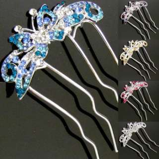 1p Austrian rhinestone crystal butterfly hair comb fork