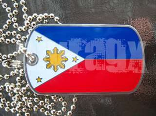 Philippines Flag Dog Tag Chain Filipino Manny Pacquiao