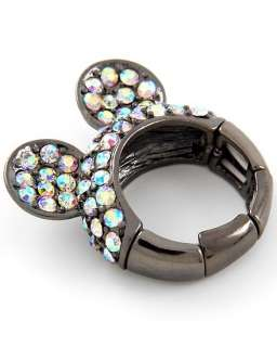 Mickey Mouse Inspired Crystal Ears Stretch Ring ~ Black Nickel Tone