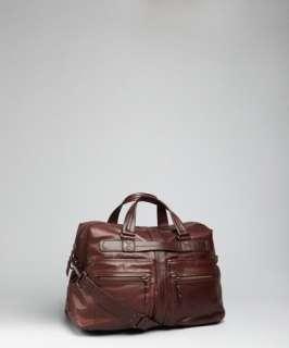 Andrew Marc cognac leather Morgan weekend duffel bag