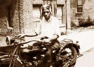 AFRICAN AMERICAN HARLEY DAVIDSON INDIAN MOTORCYCLE RIDER PHOTO