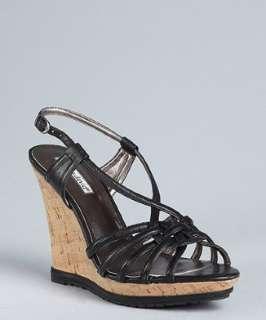 Charles David black leather Keene twisted strap cork wedge sandals