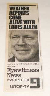 1974 WTOP tv news ad ~ LOUIS ALLEN Weather Reports Come Alive