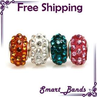 silver & crystal bead for European bracelet beads charm