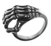 Alpaca Silver Ring R4 Skeleton Hand Life Death Size 10