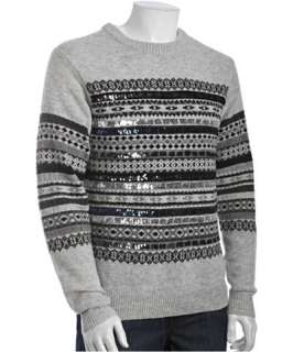 Marc by Marc Jacobs grey wool sequin fair isle crewneck sweater