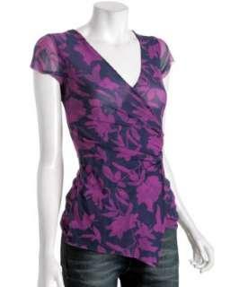 Sweet Pea shadow purple floral mesh wrap top