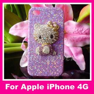 3D Purple Rhinestone Hello Kitty Bling Crystal Case cover for iPhone 4