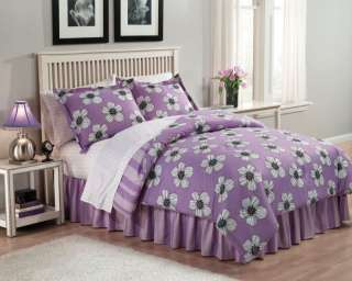Twin 6pc Comforter Set Purple Daisy Flower Power lilac lavender Tween