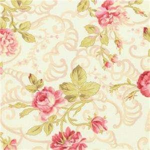 Robyn Pandolph Scarborough Fair Pink Cream Floral Rose Quilt Fabric