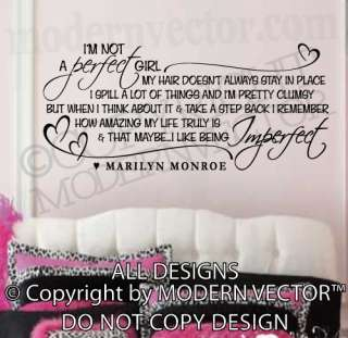 MARILYN MONROE Quote Vinyl Wall Decal IM NOT A PERFECT GIRL Vinyl