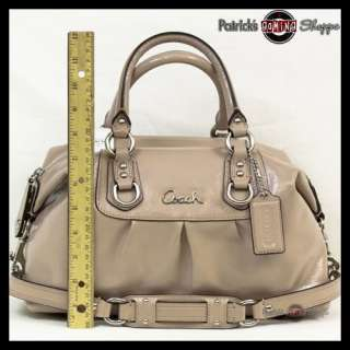 BNWT COACH ASHLEY PATENT LEATHER SATCHEL 15445 SAND PUTTY PURSE BAG