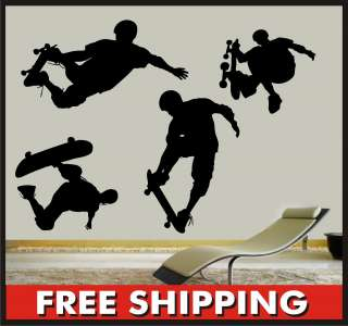 Skateboard Vinyl Wall Decals   Skater Large Mural Stickers Boarder
