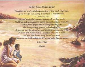 Personalized Poem for Son I Love You Mother & Son Background