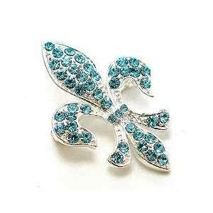 Blue Austrian Rhinestone Fleur de lis Silver Tone Brooch Pin Jewelry