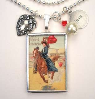 VALENTINES DAY COWGIRL HORSE VINTAGE POSTCARD NECKLACE
