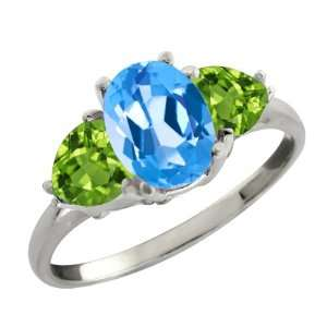 Oval Swiss Blue Topaz and Green Peridot Sterling Silver Ring Jewelry