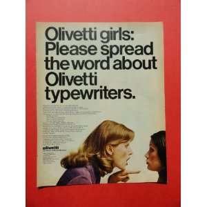 Olivetti Typewriters, 1972 print ad(olivetti girls)original magazine